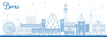 Outline Bari Italy City Skyline with Blue Buildings. Vector Illustration. Business Travel and Tourism Concept with Modern Architecture. Bari Cityscape with Landmarks.