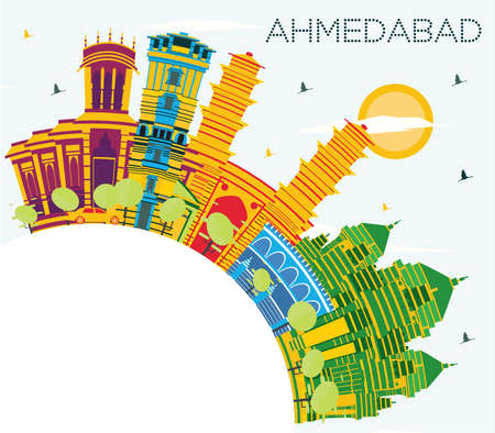 Ahmedabad India City Skyline with Color Buildings, Blue Sky and Copy Space. Vector Illustration. Business Travel and Tourism Concept with Historic Architecture. Ahmedabad Cityscape with Landmarks. Ilustração