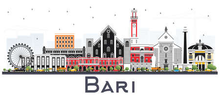 Bari Italy City Skyline with Gray Buildings Isolated on White. Vector Illustration. Business Travel and Tourism Concept with Modern Architecture. Bari Cityscape with Landmarks.