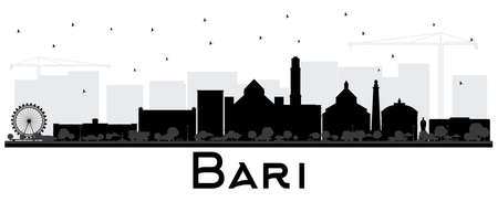 Bari Italy City Skyline Silhouette with Black Buildings Isolated on White. Vector Illustration. Business Travel and Tourism Concept with Modern Architecture. Bari Cityscape with Landmarks. Ilustrace