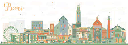 Bari Italy City Skyline with Color Buildings. Vector Illustration. Business Travel and Tourism Concept with Modern Architecture. Bari Cityscape with Landmarks. Ilustrace