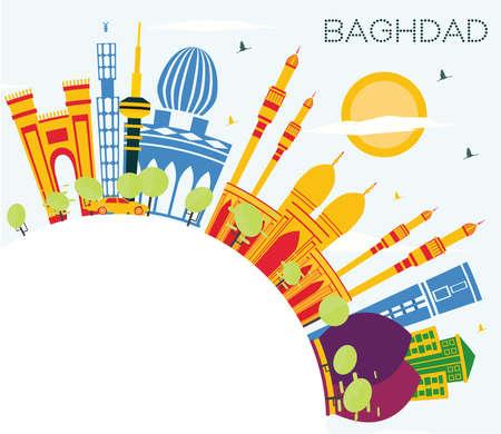 Bagdad Irak City Skyline avec bâtiments de couleur, ciel bleu et espace de copie. Illustration vectorielle. Concept de voyage d'affaires et de tourisme avec des bâtiments historiques. Paysage urbain de Bagdad avec points de repère.