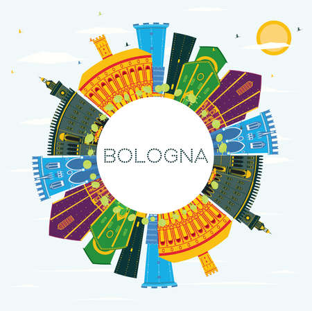 Bologna Italy City Skyline with Color Buildings, Blue Sky and Copy Space. Vector Illustration. Business Travel and Tourism Concept with Historic Buildings. Bologna Cityscape with Landmarks.  イラスト・ベクター素材