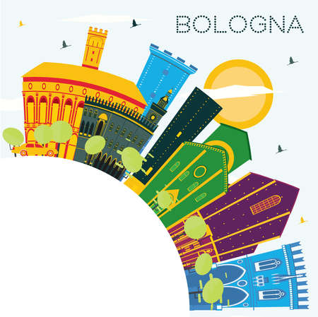 Bologna Italy City Skyline with Color Buildings, Blue Sky and Copy Space. Vector Illustration. Business Travel and Tourism Concept with Historic Buildings. Bologna Cityscape with Landmarks. Vectores