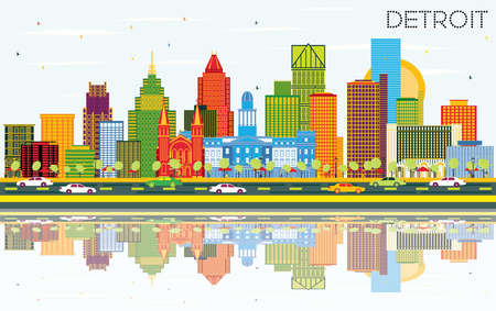 Detroit Michigan City Skyline with Color Buildings, Blue Sky and Reflections. Vector Illustration. Business Travel and Tourism Concept with Modern Architecture. Detroit Cityscape with Landmarks.