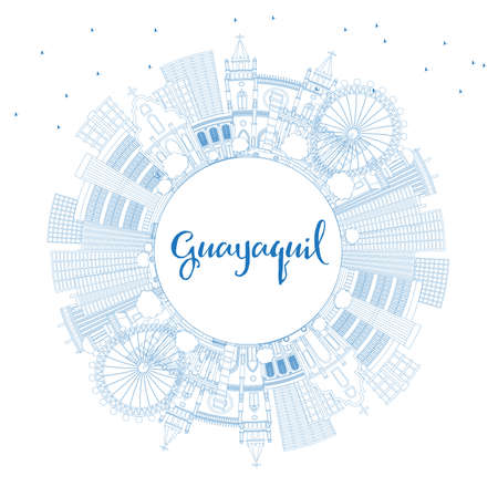 Outline Guayaquil Ecuador City Skyline with Blue Buildings and Copy Space. Vector Illustration. Business Travel and Tourism Concept with Historic Architecture. Guayaquil Cityscape with Landmarks.