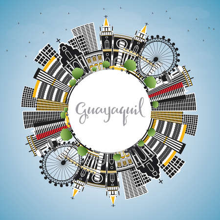 Guayaquil Ecuador City Skyline with Color Buildings, Blue Sky and Copy Space. Vector Illustration. Business Travel and Tourism Concept with Historic Architecture. Guayaquil Cityscape with Landmarks. Illustration