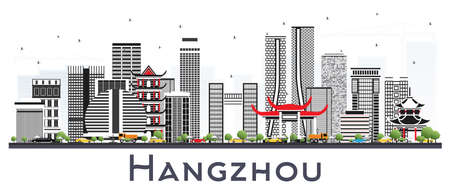 Hangzhou China City Skyline with Gray Buildings Isolated on White. Vector Illustration. Business Travel and Tourism Concept with Modern Architecture. Hangzhou Cityscape with Landmarks. Standard-Bild - 110219647