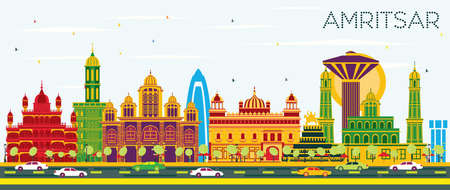 Amritsar India City Skyline with Color Buildings and Blue Sky. Vector Illustration. Business Travel and Tourism Concept with Historic Architecture. Amritsar Cityscape with Landmarks.