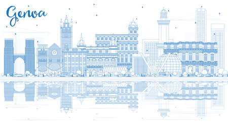 Outline Genoa Italy City Skyline with Blue Buildings and Reflections. Vector Illustration. Business Travel and Tourism Concept with Modern Architecture. Genoa Cityscape with Landmarks. 일러스트
