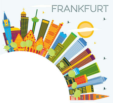 Frankfurt Germany City Skyline with Color Buildings, Blue Sky and Copy Space. Vector Illustration. Business Travel and Tourism Concept with Modern Buildings. Frankfurt Cityscape with Landmarks. Illustration