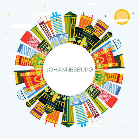 Johannesburg South Africa City Skyline with Color Buildings, Blue Sky and Copy Space. Vector Illustration. Business Travel and Tourism Concept with Modern Buildings. Johannesburg Cityscape with Landmarks.