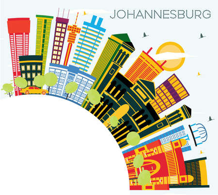 Johannesburg South Africa City Skyline with Color Buildings, Blue Sky and Copy Space. Vector Illustration. Business Travel and Tourism Concept with Modern Buildings. Johannesburg Cityscape with Landmarks. Stock Vector - 110185911