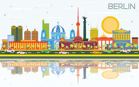Berlin Germany City Skyline with Color Buildings, Blue Sky and Reflections. Vector Illustration. Business Travel and Tourism Concept with Historic Architecture. Berlin Cityscape with Landmarks.