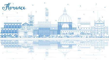 Orizzonte di contorno Firenze Italia città con edifici blu e riflessi. Illustrazione di vettore. Viaggi d'affari e concetto di turismo con architettura moderna. Paesaggio urbano di Firenze con punti di riferimento.