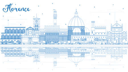Outline Florence Italy City Skyline with Blue Buildings and Reflections. Vector Illustration. Business Travel and Tourism Concept with Modern Architecture. Florence Cityscape with Landmarks. 矢量图像