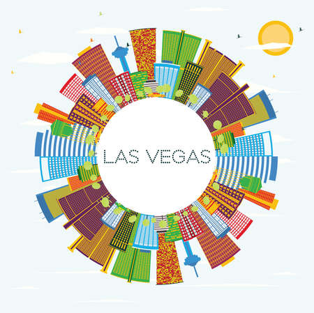 Las Vegas City Skyline with Color Buildings, Blue Sky and Copy Space. Vector Illustration. Business Travel and Tourism Concept with Modern Buildings. Las Vegas Cityscape with Landmarks. Ilustração