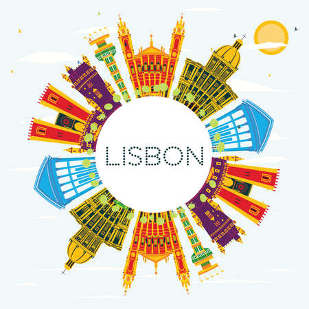 Lisbon Portugal City Skyline with Color Buildings, Blue Sky and Copy Space. Vector Illustration. Business Travel and Tourism Concept with Historic Architecture. Lisbon Cityscape with Landmarks.