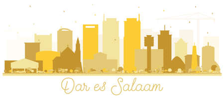 Dar Es Salaam Tansania Skyline Goldene Silhouette. Vektor-Illustration. Einfaches flaches Konzept für Tourismuspräsentation, Plakat oder Website. Stadtbild von Dar Es Salaam mit Sehenswürdigkeiten.