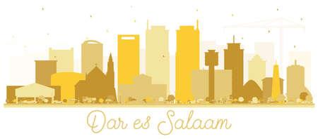 Dar Es Salaam Tanzania Skyline Golden Silhouette. Vector Illustration. Simple Flat Concept for Tourism Presentation, Placard or Web Site. Dar Es Salaam Cityscape with Landmarks.