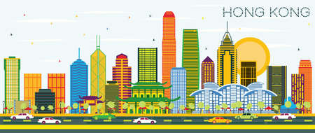 Hong Kong China City Skyline with Color Buildings and Blue Sky. Vector Illustration. Business Travel and Tourism Concept with Modern Architecture. Hong Kong Cityscape with Landmarks.