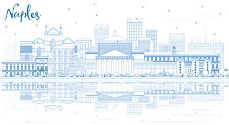 Esquema del horizonte de la ciudad de Nápoles, Italia, con edificios azules y reflejos. Ilustración de vector. Concepto de turismo y viajes de negocios con arquitectura moderna. Paisaje urbano de Nápoles con hitos. Ilustración de vector