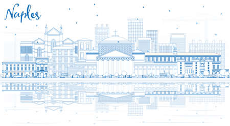 Outline Naples Italy City Skyline with Blue Buildings and Reflections. Vector Illustration. Business Travel and Tourism Concept with Modern Architecture. Naples Cityscape with Landmarks. Ilustração Vetorial