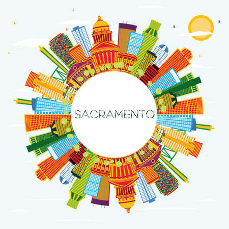 Sacramento USA City Skyline with Color Buildings, Blue Sky and Copy Space. Vector Illustration. Business Travel and Tourism Concept with Modern Architecture. Sacramento Cityscape with Landmarks.