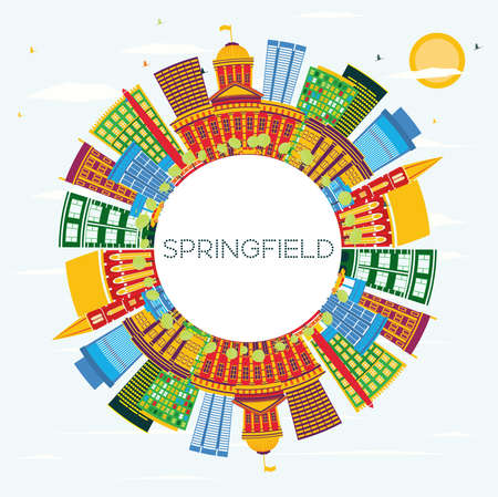 Springfield Illinois City Skyline with Color Buildings, Blue Sky and Copy Space. Vector Illustration. Business Travel and Tourism Concept . Springfield Cityscape with Landmarks.