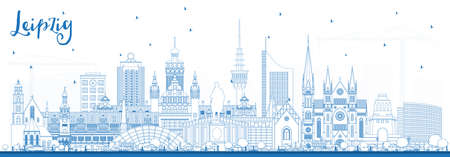 Outline Leipzig Germany City Skyline with Blue Buildings. Vector Illustration. Business Travel and Tourism Concept with Historic Architecture. Leipzig Cityscape with Landmarks. Illustration