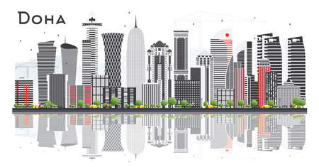 Doha Qatar Skyline with Gray Buildings Isolated on White Background. Vector Illustration. Business Travel and Tourism Concept with Modern Architecture. Doha Cityscape with Landmarks. Illustration