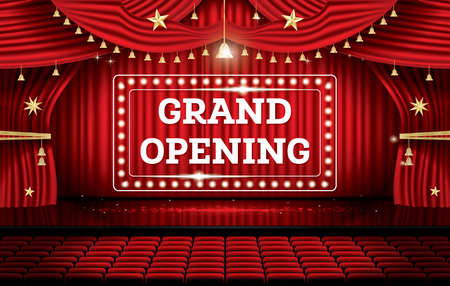Grand Opening. Open Red Curtains with Neon Lights. Vector Illustration.