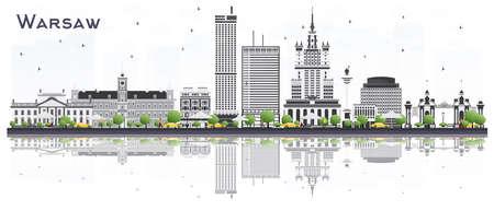 Orizzonte della città di Varsavia Polonia con edifici grigi isolati su sfondo bianco. Illustrazione vettoriale. Viaggi d'affari e turismo concetto con architettura storica. Paesaggio urbano di Varsavia con punti di riferimento.