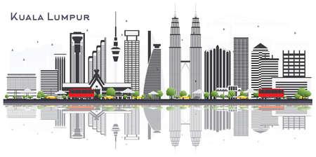 Toits de la ville de Kuala Lumpur en Malaisie avec des bâtiments gris isolé sur fond blanc. Illustration vectorielle. Concept de voyages d'affaires et de tourisme avec des bâtiments. Paysage urbain de Kuala Lumpur avec points de repère. Vecteurs