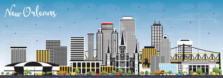 New Orleans Louisiana City Skyline with Gray Buildings and Blue Sky. Vector Illustration. Business Travel and Tourism Concept with Modern Architecture. New Orleans USA Cityscape with Landmarks.