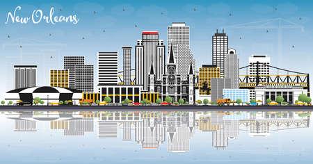 Toits de la ville de la Nouvelle-Orléans en Louisiane avec bâtiments gris, ciel bleu et réflexions. Illustration vectorielle. Concept de voyage d'affaires et de tourisme avec une architecture moderne. New Orleans USA Cityscape avec points de repère.