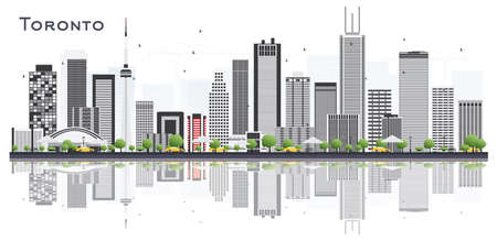 Toronto Canada City Skyline with Color Buildings and Reflections Isolated on White. Vector Illustration. Business Travel and Tourism Concept with Modern Architecture. Toronto Cityscape with Landmarks.