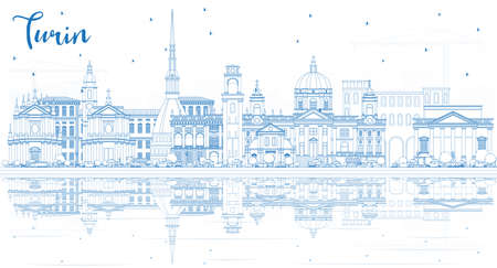 Outline Turin Italy City Skyline with Blue Buildings and Reflections. Vector Illustration. Business Travel and Tourism Concept with Modern Architecture. Turin Cityscape with Landmarks.