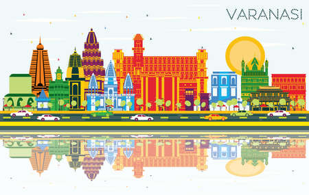 Varanasi India City Skyline with Color Buildings, Blue Sky and Reflections. Vector Illustration. Business Travel and Tourism Concept with Historic Architecture. Varanasi Cityscape with Landmarks.