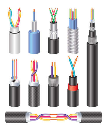 Set Realistic Electric Industrial Fiber Optic Cable and Copper Wire Isolated on White Background. Vector Illustration.