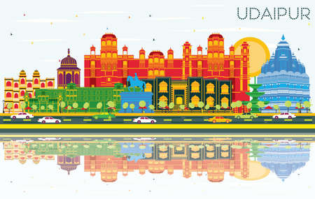 Udaipur India City Skyline with Color Buildings, Blue Sky and Reflections. Vector Illustration. Business Travel and Tourism Concept with Historic Architecture. Udaipur Cityscape with Landmarks.