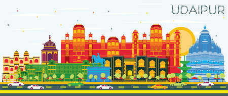 Udaipur India City Skyline with Color Buildings and Blue Sky. Vector Illustration. Business Travel and Tourism Concept with Historic Architecture. Udaipur Cityscape with Landmarks.
