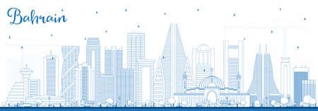 Décrire les toits de la ville de Bahreïn avec des bâtiments bleus. Illustration vectorielle. Concept de voyage d'affaires et de tourisme avec une architecture moderne. Paysage urbain de Bahreïn avec points de repère. Vecteurs