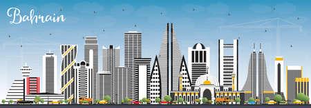 Toits de la ville de Bahreïn avec bâtiments gris et ciel bleu. Illustration vectorielle. Concept de voyage d'affaires et de tourisme avec une architecture moderne. Paysage urbain de Bahreïn avec points de repère.