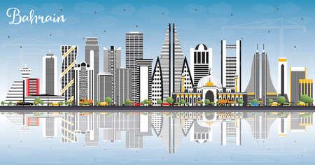Toits de la ville de Bahreïn avec bâtiments gris, ciel bleu et réflexions. Illustration vectorielle. Concept de voyage d'affaires et de tourisme avec une architecture moderne. Paysage urbain de Bahreïn avec points de repère.
