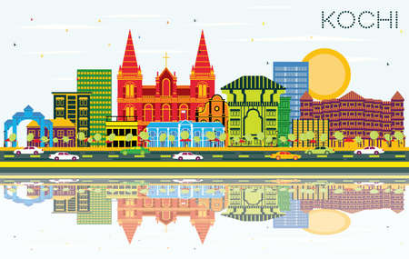 Kochi India City Skyline with Color Buildings, Blue Sky and Reflections. Vector Illustration. Business Travel and Tourism Concept with Historic Architecture. Kochi Cityscape with Landmarks. Ilustracja