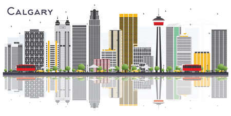 Calgary Canada City Skyline with Gray Buildings and Reflections on White Background. Vector Illustration. Business Travel and Tourism Concept with Modern Buildings. Calgary Cityscape with Landmarks.