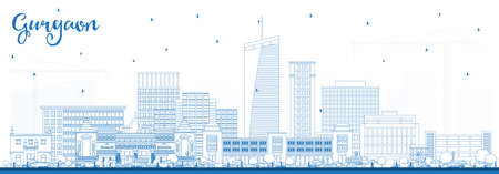 Outline Gurgaon India City Skyline with Blue Buildings. Vector Illustration. Business Travel and Tourism Concept with Modern Architecture. Gurgaon Cityscape with Landmarks.