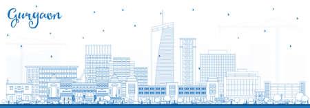Nakreśl panoramę miasta Gurgaon w Indiach z niebieskimi budynkami. Ilustracji wektorowych. Podróże służbowe i koncepcja turystyki z nowoczesną architekturą. Gurgaon Cityscape z zabytkami.