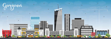Gurgaon India City Skyline with Gray Buildings and Blue Sky. Vector Illustration. Business Travel and Tourism Concept with Modern Architecture. Gurgaon Cityscape with Landmarks. Illustration